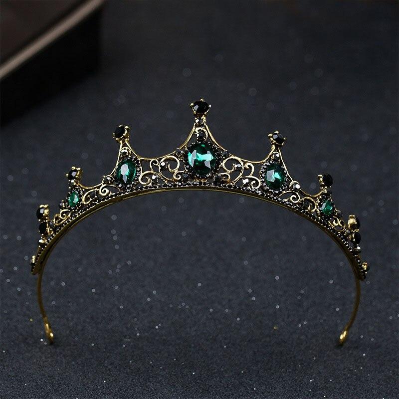 Gran oferta Vintage estilo barroco verde cristal Tiaras y coronas cabeza Noiva novia boda fiesta joyería diadema