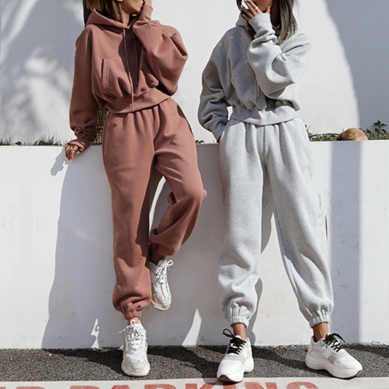 Casual Loose Two Piece Outfits for Women Comfortable Hoodie Two Piece Drop Shoulder Sleeve High Waist Woven Suit