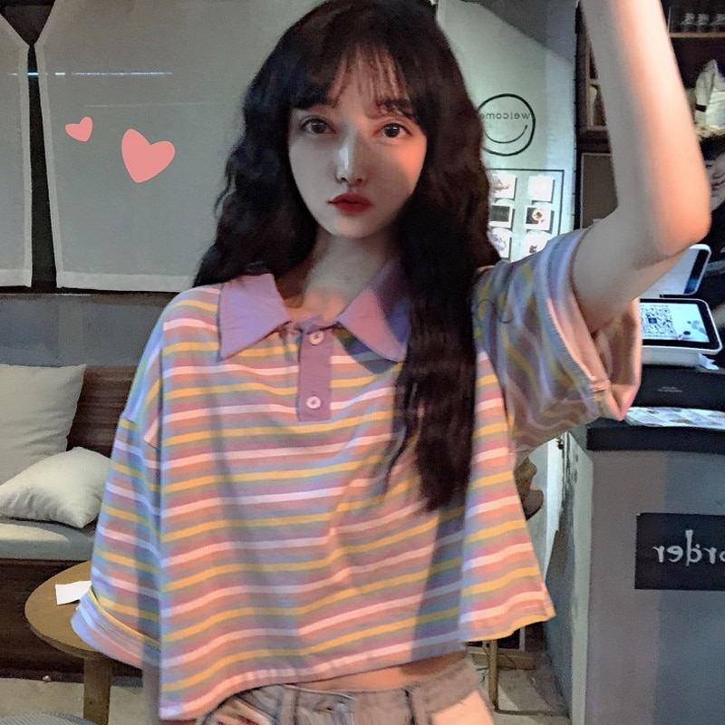 Short Sleeve 2021 New Women's Clothing Summer Korean Style Striped Polo Shirt Ins Loose Cropped T-sh
