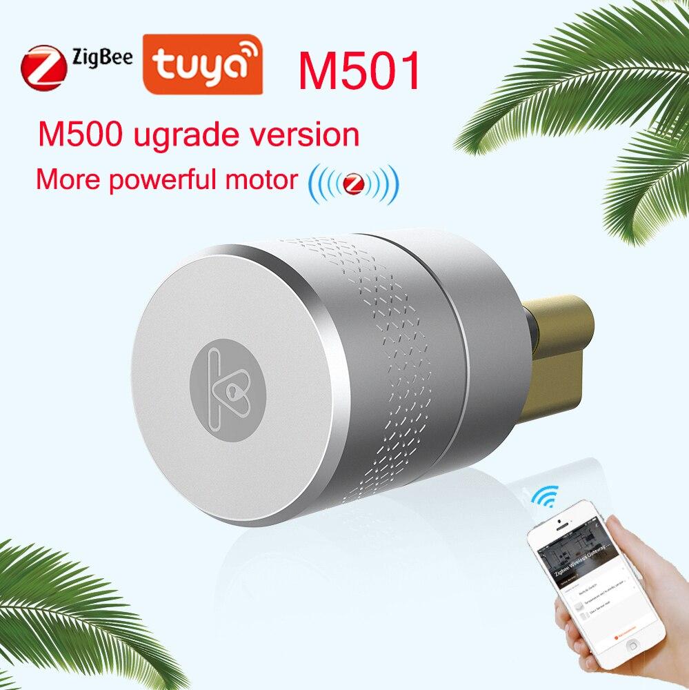 Review AIRBNK M501 Tuya Zigbee Smart Lock Cylinder Fingerprint Bluetooth Door Lock Smartlife WIFI Door Lock M500 Upgrade Version