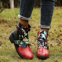 2021 new womens boots foreign trade martin boots stitching embroidered low tube thick heeled womens short boots fashion casual