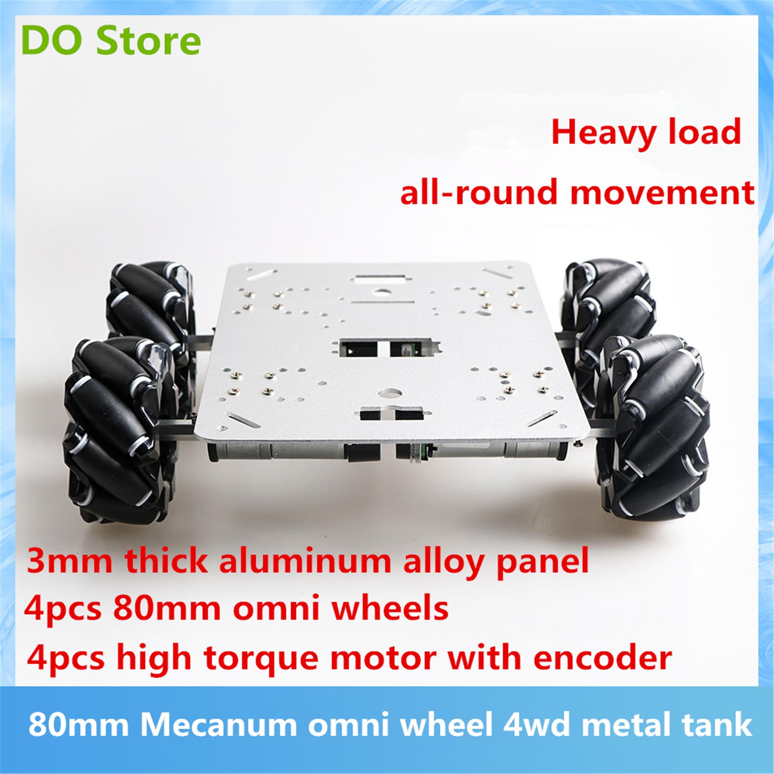 Armazene 80mm roda omnidirecional 4wd grande tanque de metal chassis kit 12 v dc motor com codificador diy ros/plataforma deriva