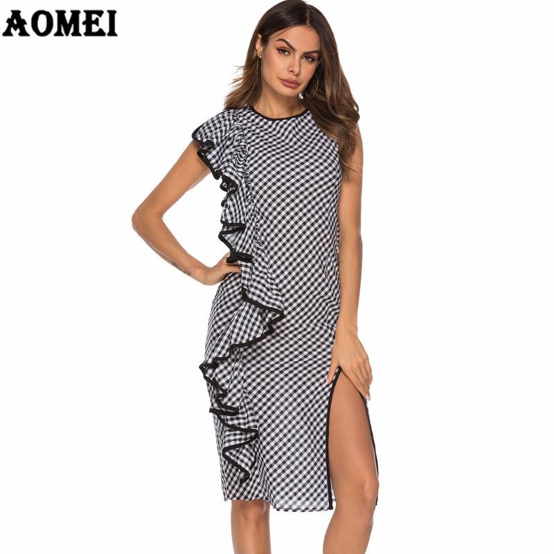 Vestido de mujer negro Retro Gingham alto Split Ruffled Vintage a cuadros túnicas Mujer elegante ajustado Sundress ropa de mujer