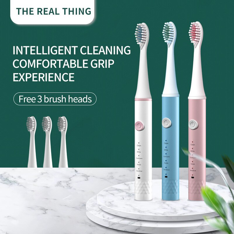 Household Rechargeable electric toothbrush Adult Rechargeable Ultrasonic Waterproof Replacement Heads Set Brush