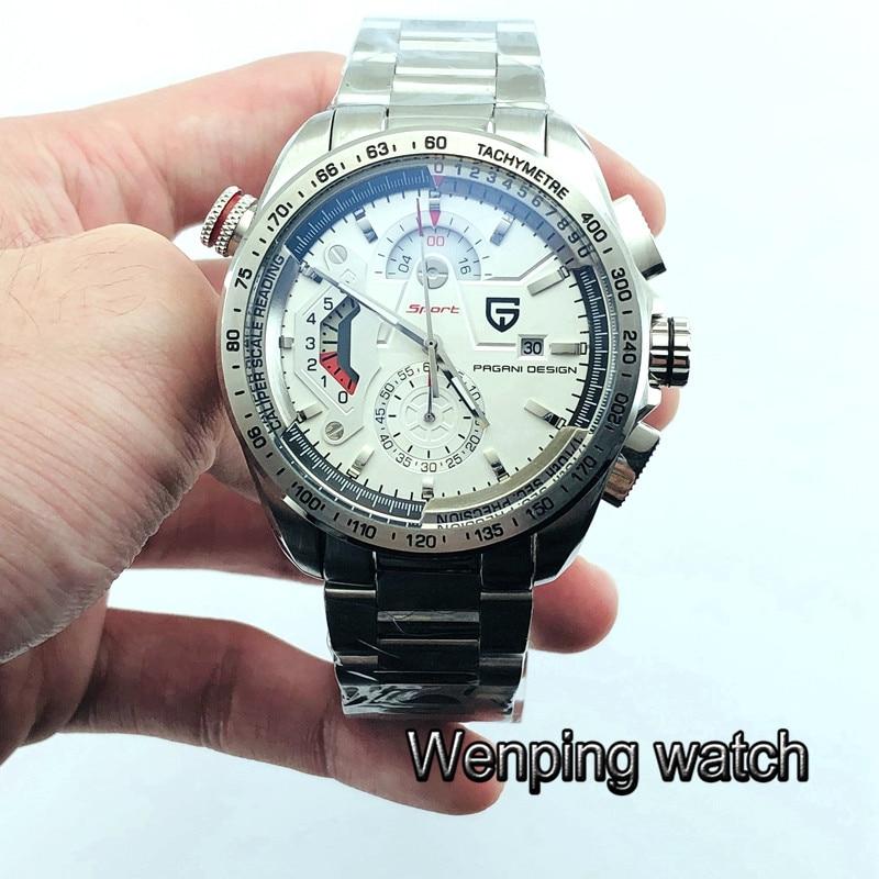 New 44mm Pagani design silver steel case white dial quartz sport luxury multifunction men Wristwatches
