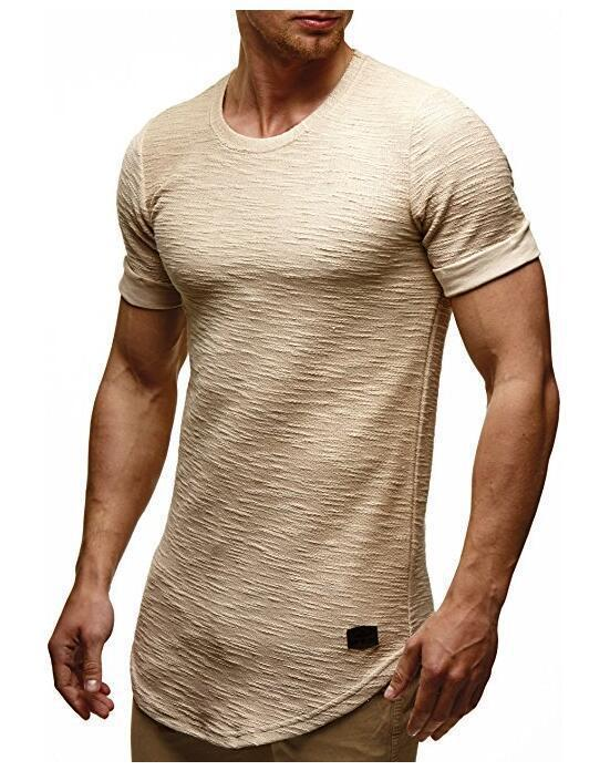 Summer new men's T-shirts solid color slim trend casual short-sleeved fashion