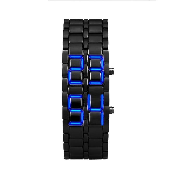 Fashion electronic watch Lava Style Iron Black Bracelet LED Japanese Inspired Watch BLUE Stainless steel lava men watch @5