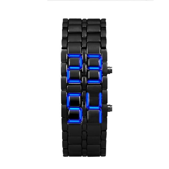 Reloj electrónico de moda de estilo Lava, pulsera negra de hierro, reloj LED inspirado en japonés, reloj lava para hombre de acero inoxidable azul @ 5