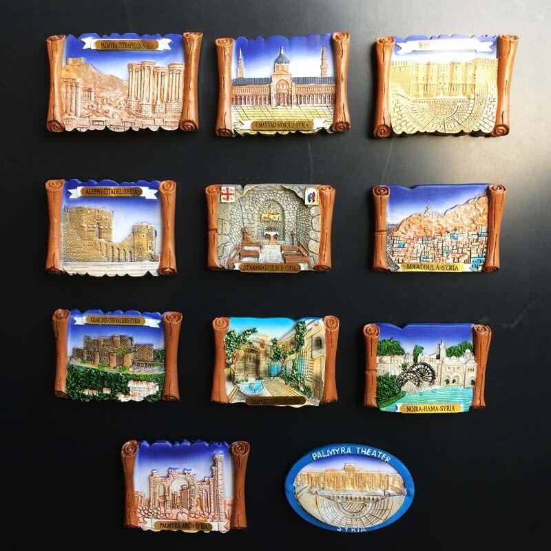 Imán para nevera, recuerdos de Turismo de Siria, decoración artesanal de Oriente Medio, antiguo edificio pintado a mano, adhesivo magnético de resina 3D para nevera