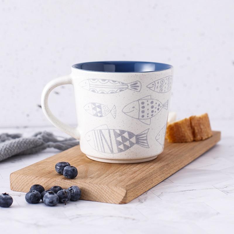 Taza de cerámica de Color Underglaze taza de beber de pareja taza de café de oficina en casa taza de té taza para leche desayuno Cereal taza de pescado pequeño