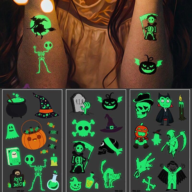 Tatuaje de fantasma luminoso de Halloween para niños tatuaje falso con brillan en la oscuridad pegatinas temporales impermeables del tatuaje