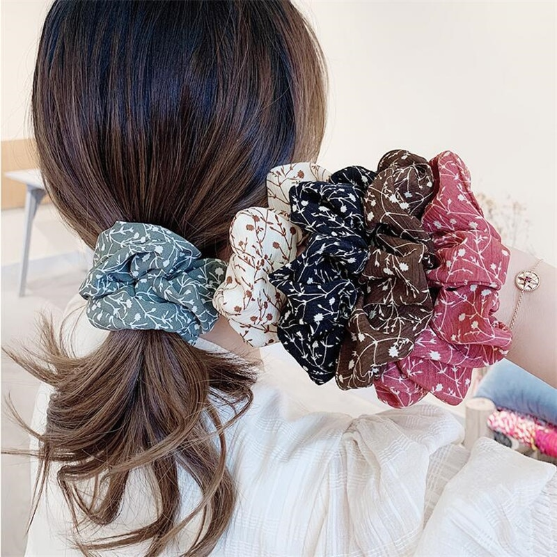 50pcs lot korean fashion girl elastic hair bands tie rope ring rubber ponytail holder colorfully black hair bands for women Summer Chiffon Floral Scrunchie Women Girls Elastic Hair Rubber Bands Accessories Tie Hair Ring Rope Ponytail Holder Headdress