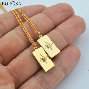 BOROSA 18inch Rectangle Metal Eight Star Pendant Necklace for Women, 18K Gold Necklace High Quality Zircon Chain Necklace WX1779