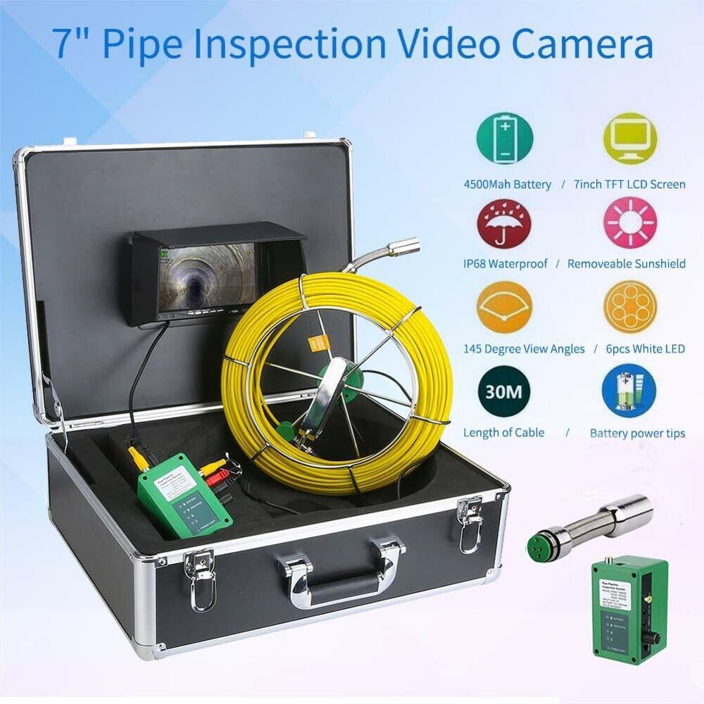"""7 """"câmera de vídeo impermeável da inspeção da tubulação do lcd 30 m, endoscópio industrial do encanamento de esgoto do dreno"""