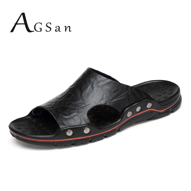Summer Men Slippers Outdoor Shoes Genuine Leather Slides Big Size 48 47 Casual Slippers Breathable D