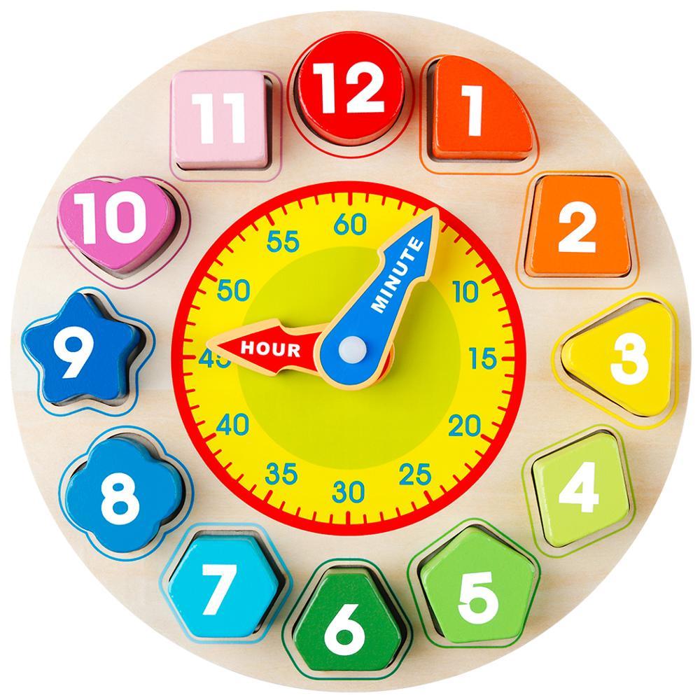Coogam Wooden Shape Color Sorting Clock – Teaching Time Number Blocks Shape Stacking Sorter Toys Gift for Toddles Kids