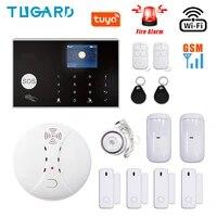 Tuya     Kit de systeme dalarme de securite domestique sans fil  wi-fi  GSM  433MHz  anti-cambriolage  avec detecteur de fumee et dincendie