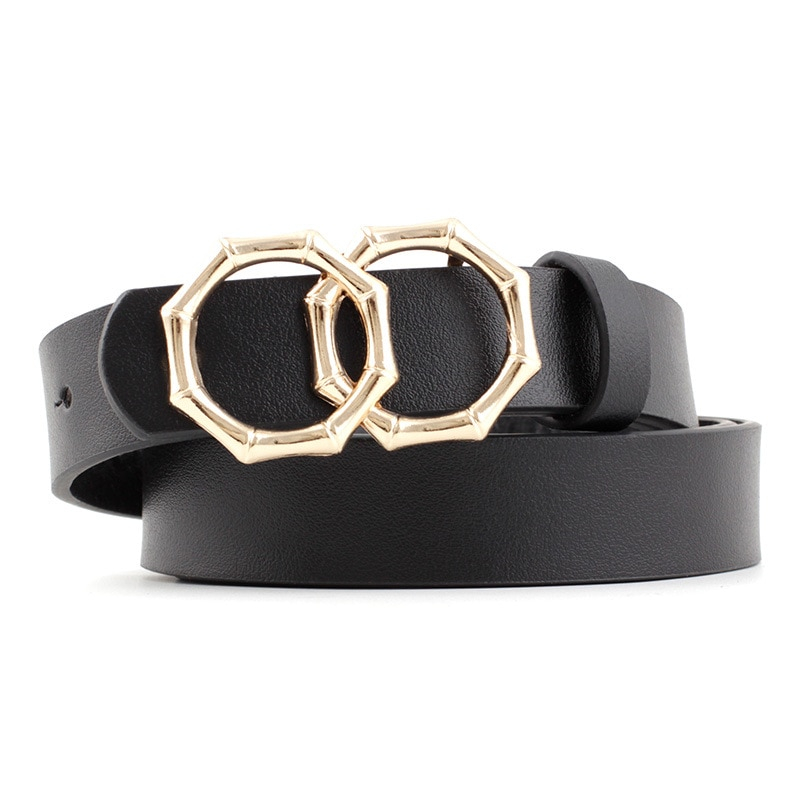 2020 nuevo diseñador de las mujeres es de bambú forma doble O anillo Correa hebilla de mujer blanco y negro Chita leopardo imprimir cinturones para mujer
