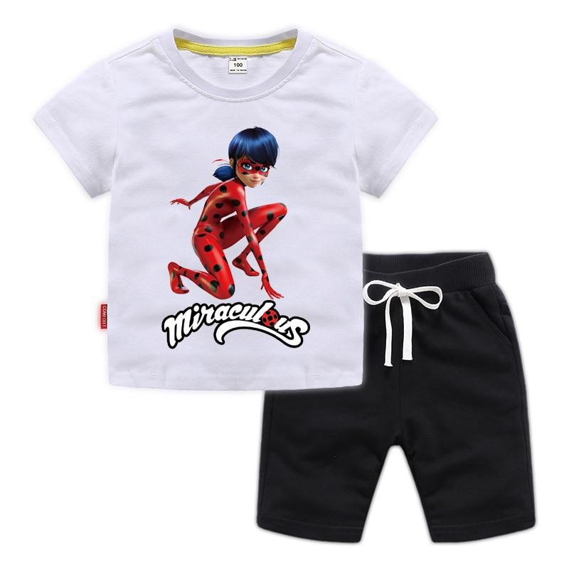 Los niños conjuntos de ropa para niños ropa deportiva camiseta de mariquita + Pantalones cortos casuales de verano las niñas chándal de dibujos animados bebé Niñas Ropa conjunto