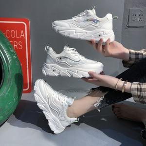 2020 Women's Chunky Sneakers Fashion Platform Mesh Brand Women Casual Shoes Tennis Female Comfor White Woman Vulcanized Shoes