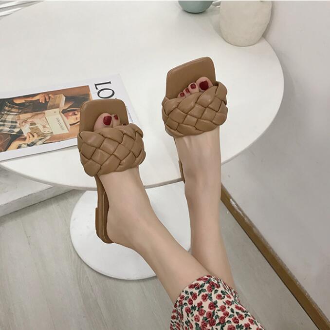 Nuevas zapatillas De punto cruzado con rombos para Mujer, sandalias De diseñador De tacón alto con punta cuadrada trenzada, Zapatos De fiesta De verano para Mujer