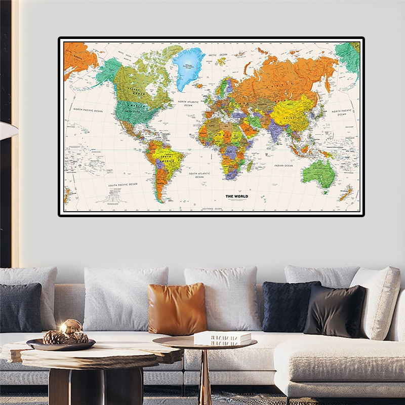magic world map wallpaper wall stickers for kids rooms bedroom sticker painting poster home decoration accessories 225*150cm The World Map Non-woven Art Poster Canvas Painting Wall Sticker Map Card Living Room Home Decoration