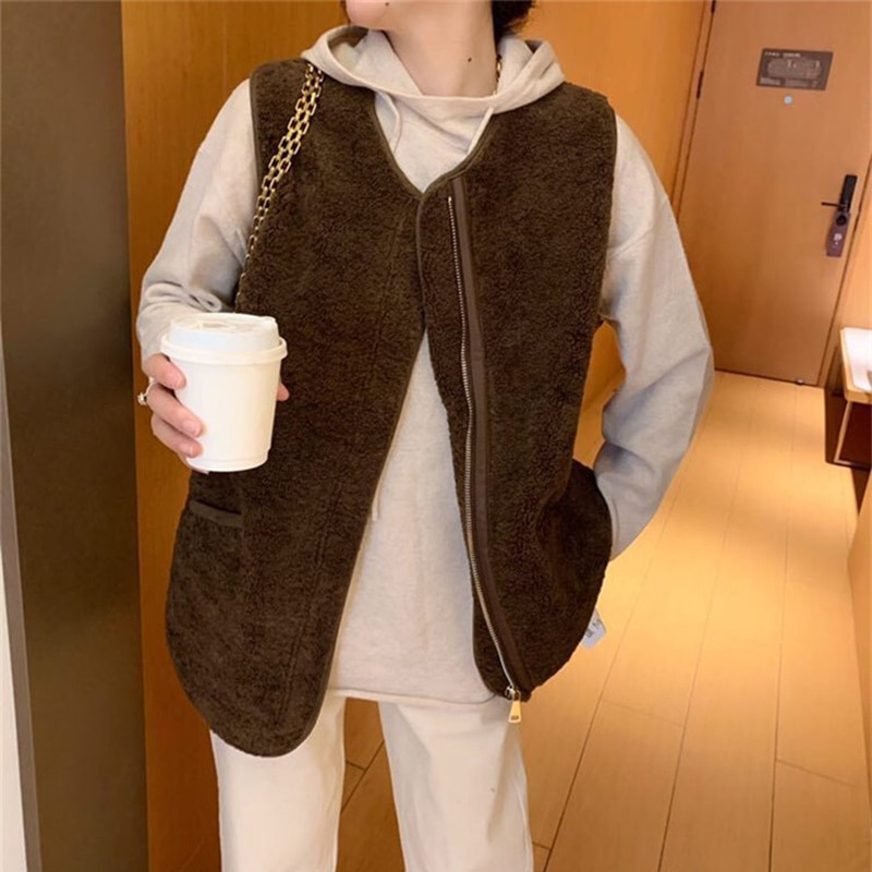 2021 Autumn and Winter Leather and Fur Vest Mohair Lamb Wool Sleeveless Coat Vest Loose