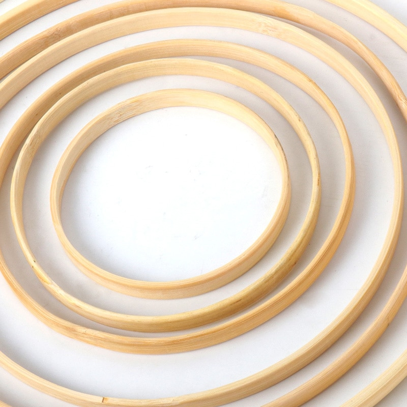 1/5Pcs Home decor Bamboo Ring Wooden circle round Catcher DIY Hoop for Flower wreath House garden pl