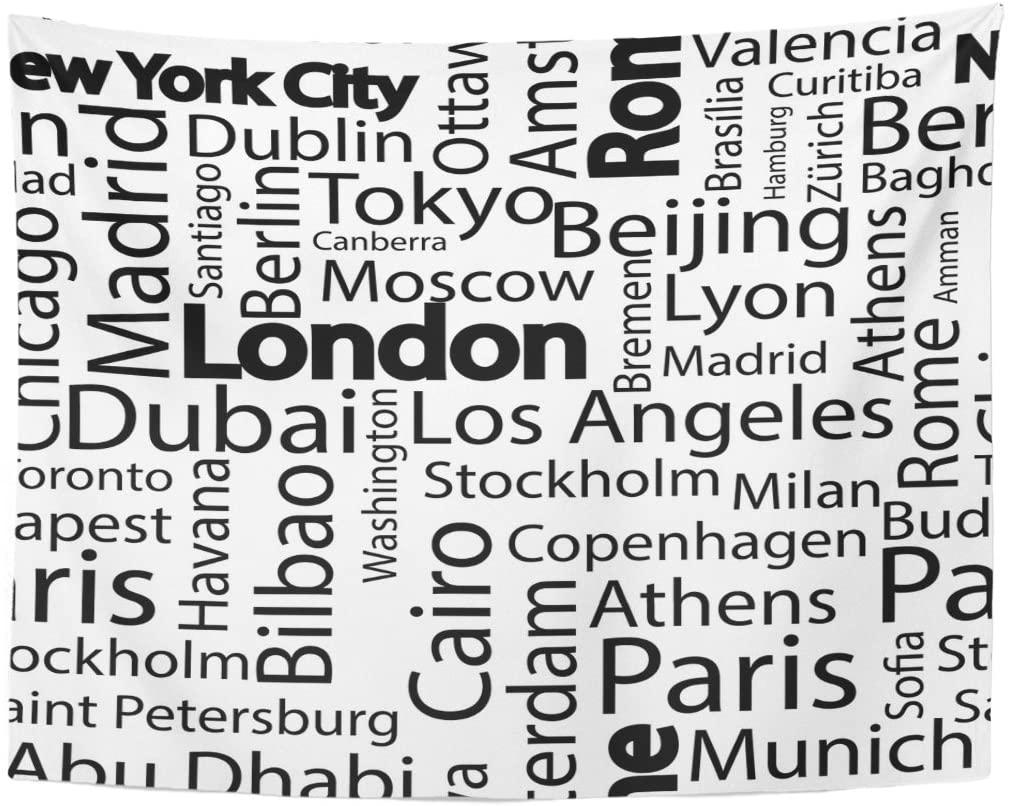 Ciudad ciudades del mundo nombres patrón con París viaje tapicería hogar Decoración de pared colgante para sala de estar dormitorio 60x80 Inche
