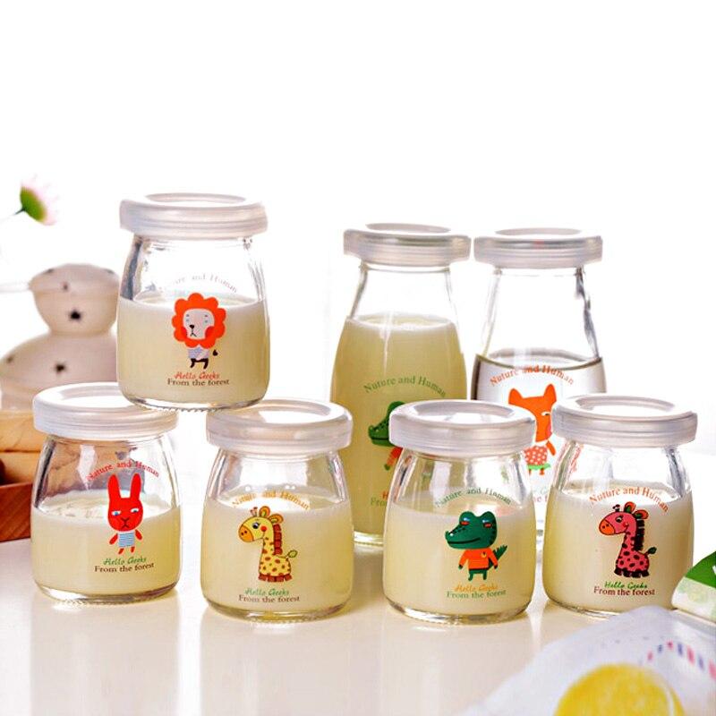 6 pçs dos desenhos animados frascos de vidro com tampas para iogurte diy cozinhar garrafa de leite de alta temperatura garrafa de pudim perfumes de vidrio con tapa