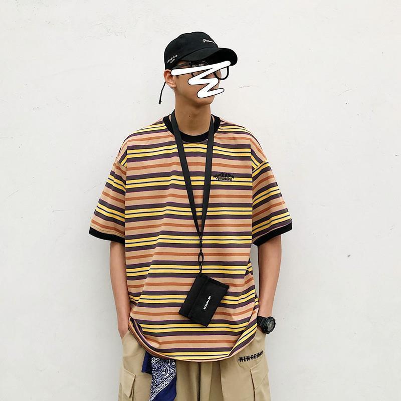 Japanese Vintage 3xl Oversized Striped Men Tshirts Summer Fashion Loose Short Sleeve Top Woman Harajuku Punk Sea-Striped Shirt