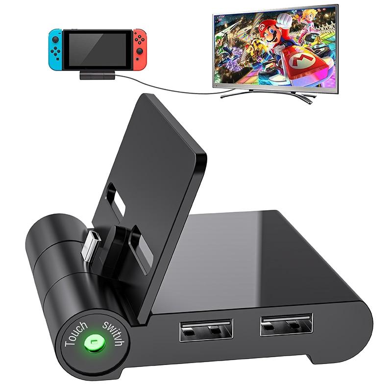 نينتندو سويتش TV Dock متوافق مع سويتش صغيرة محمولة قابلة للطي شاحن TV محول 1080P HDMI و 3.0 USB Play Stand Charg