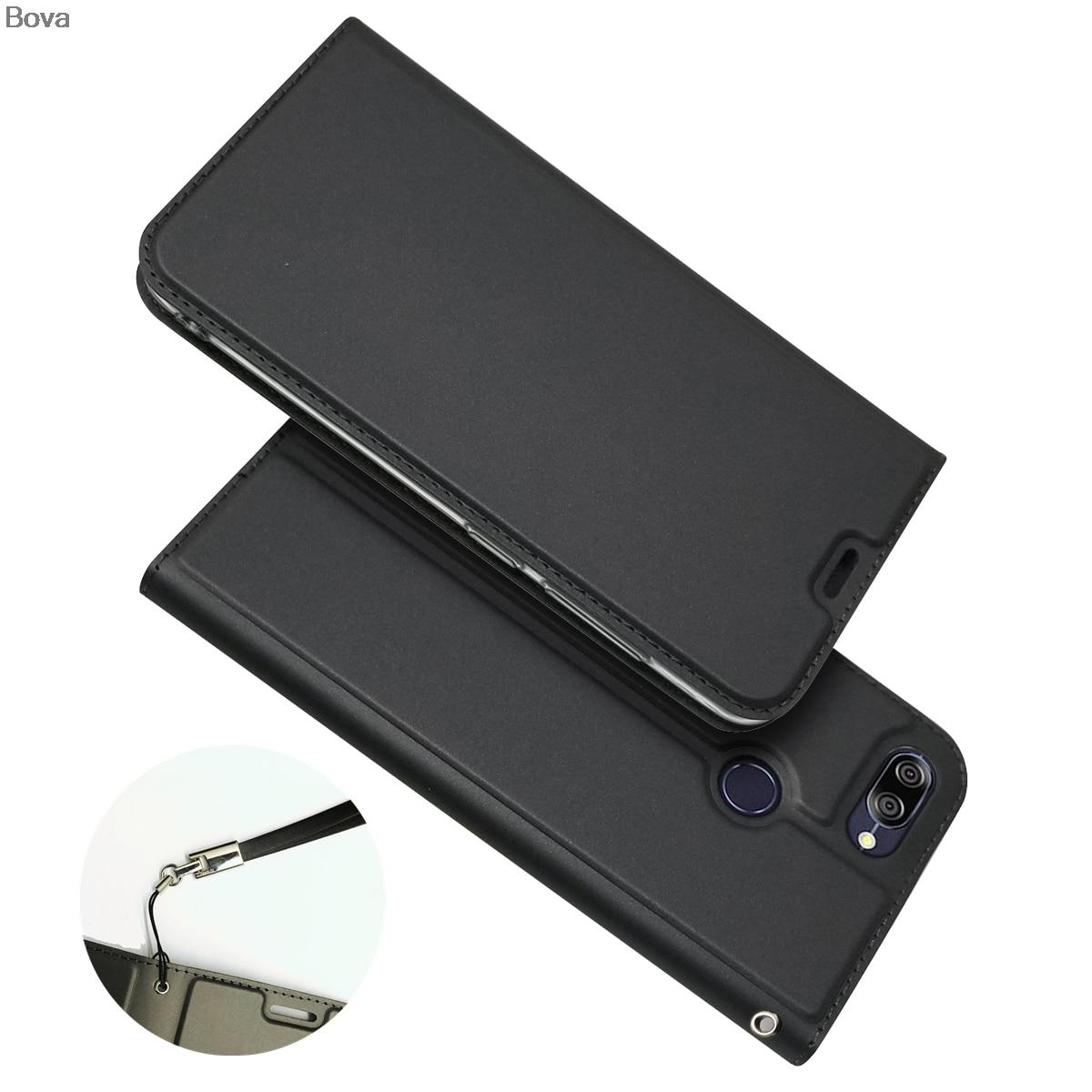 Capa carteira para asus zenfone max plus (m1) zb570tl capa de telefone à prova de gota atração magnética ultra-fino toque fosco