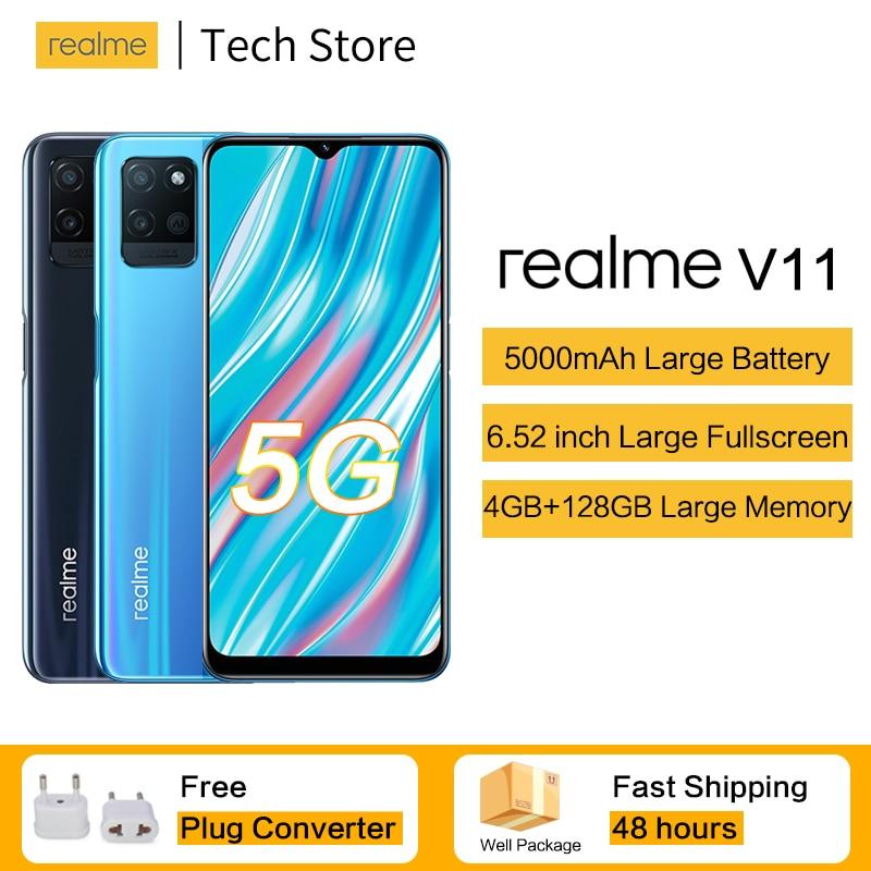 Перейти на Алиэкспресс и купить Новое поступление 5G смартфон realme V11 MTK Dimensity700 4 Гб 128 Celular 5000mAh Большой Батарея 18 Вт быстрый заряд 13MP телефона Andriod