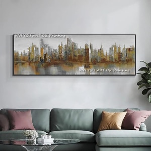 Metal Style City View Abstract Handmade Color Oil Painting Wall Art on Canvas Painting Wall Decor Pictures for Living Room Graph