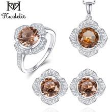 Kuololit Diaspore kamień biżuteria zestawy dla kobiet prawdziwe 925 srebrny pierścień kolczyki naszyjniki zmienia kolor sultanit dzieła