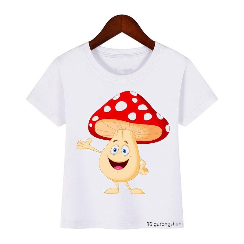 Футболки для мальчиков и девочек, милые и забавные детские футболки с мультяшным принтом грибов, летние модные детские футболки, высококаче...