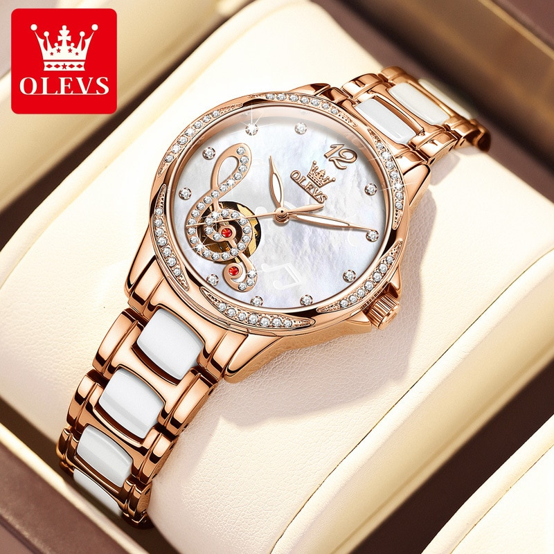 Ceramic automatic mechanical watch with diamonds and musical notes literally, ladies watch, waterproof female watch enlarge