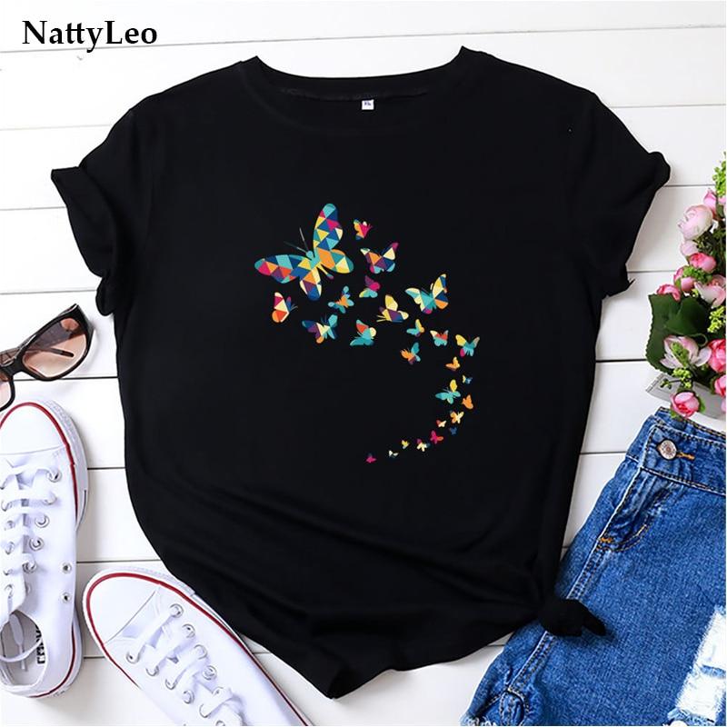Футболка женская оверсайз с круглым вырезом, 100% хлопок, топ с коротким рукавом и рисунком бабочек, одежда черного цвета, лето | Женская одежда | АлиЭкспресс