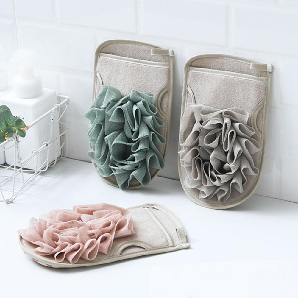 De doble cara baño guante ducha cuerpo esponjas exfoliantes piel masaje Spa depurador Mitten ducha herramientas de baño