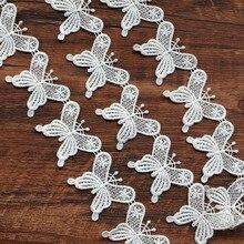 1 yard/lot Weiß Blume spitze Stickerei Trim Band DIY Hochzeit Nähen Bekleidungs Handgemachte Accessoires