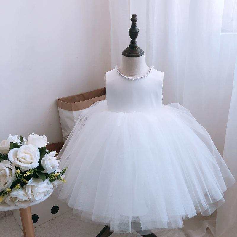 Tutú niña bebé vestido de bautismo encaje blanco niña boda bautizo vestido recién nacido 1 año espectáculo para fiesta de cumpleaños Vestidos