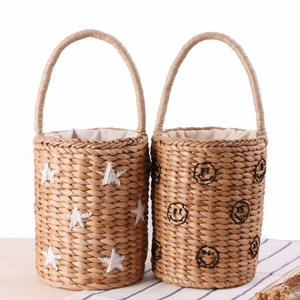 Fashion Portable Bucket Woven Bag Totes Embroidery Stars Smile Face pineapple Straw Bag Summer Vacation Beach Bag