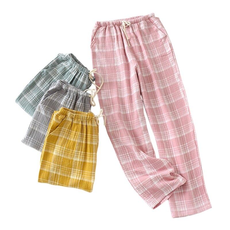 Primavera 100% crepe algodón sleep bottoms mujer caliente home pantalones pijama pantalones nueva moda a cuadros casual pijamas pantalones para dormir