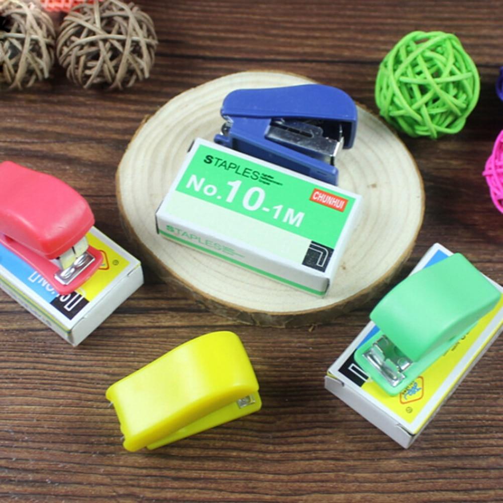 Juego de grapas geométricas manuales, minigrapadora, papelería, encuadernación de papel, carpeta, libro, suministro escolar