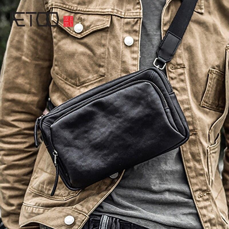 إيتوو حقيبة صغيرة من الجلد بطبقة الرأس ، حقيبة يد مائلة من جلد البقر ، حقيبة يد بسيطة من الجلد الذكور