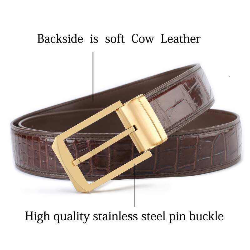 Crocodile leather waist belts men businessman man designer luxury belt for black pants cinturones para hombre cinto masculino