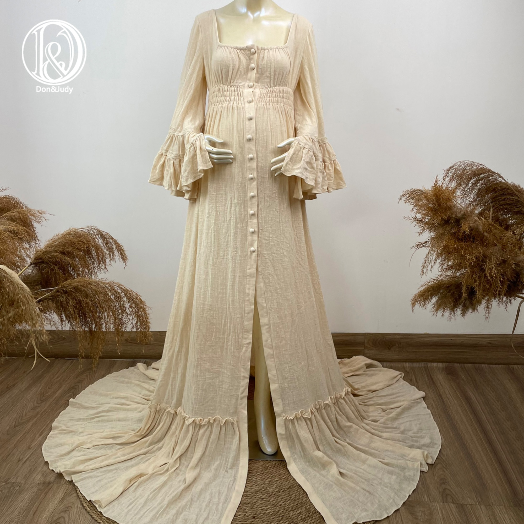 Don&Judy Boho Retro Maternity Or Non Maternity Dress for Photoshoot Photography Prop Party Evening Pregnant Woman Maxi Gown 2021