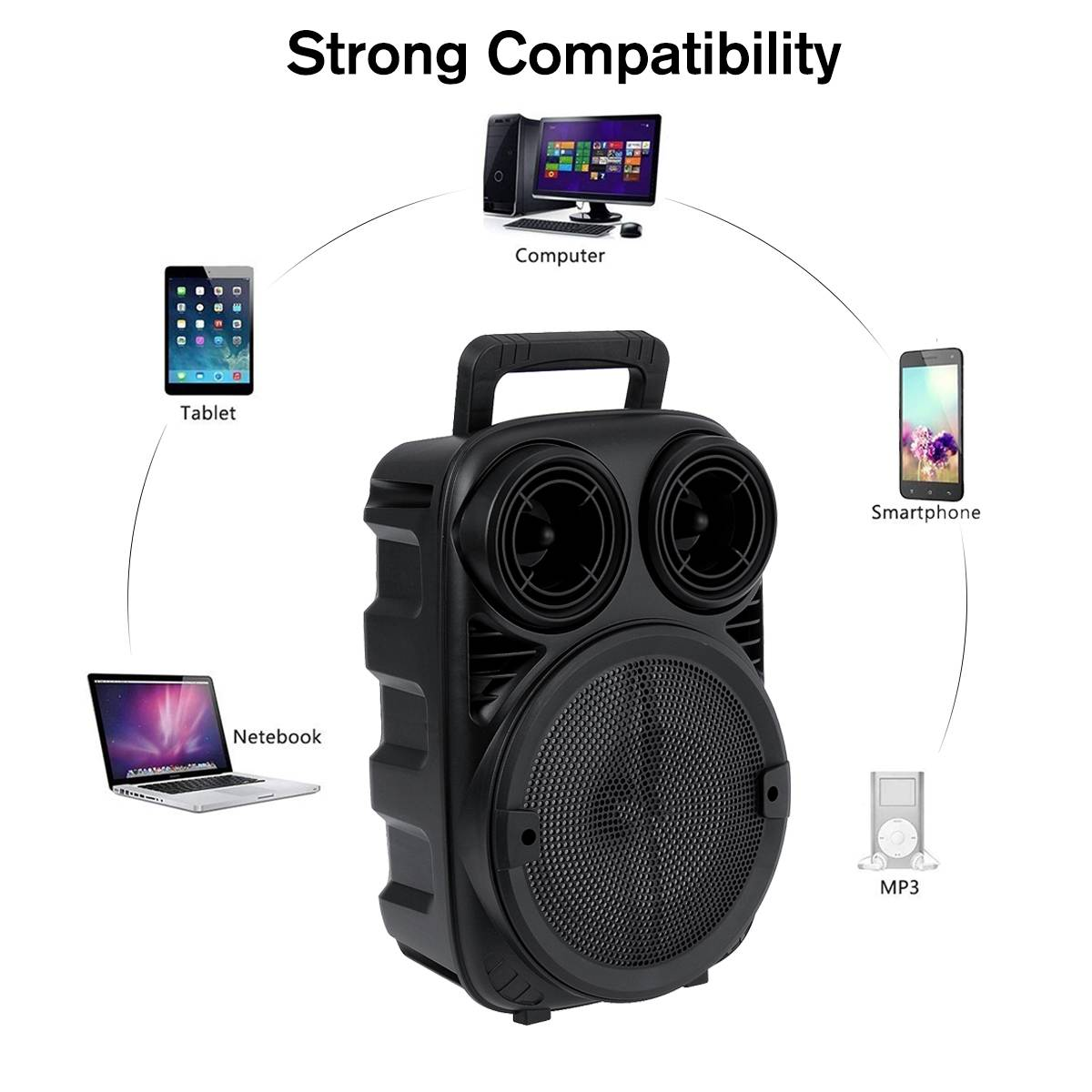 Portable Wireless bluetooth Speaker Music Player With Party Light Stereo Subwoofer Support FM Radio TF AUX USB Rechargeable enlarge