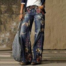 Frauen Mode Gedruckt Jeans 2020 Frauen Hohe Taille Blumen Druck Jeans Hosen Breite Bein Hosen Gerade Damen Hosen Femme